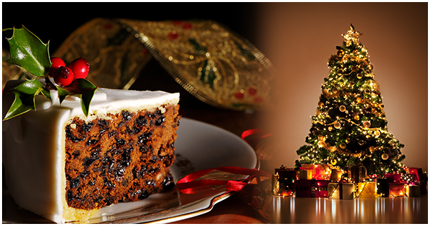 christmas cake and the christmas trees